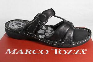 Marco Tozzi Mules Femmes Mule Sandales Cuir Véritable Noir Neuf