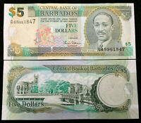 Barbados 5 Dollars Banknote World Paper Money UNC Currency Bill Note