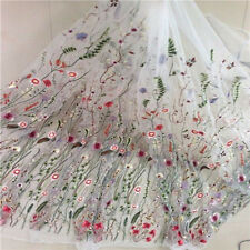 1Yard Embroidery Dress Lace Fabric Floral Flower Mesh DIY Organza Lace Fabric