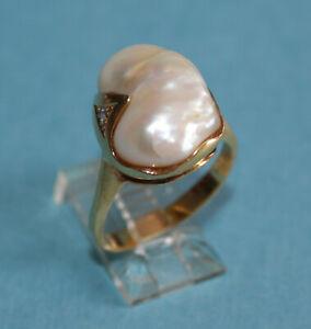 STUNNING 18K YELLOW GOLD 20mm NATURAL PEARL DIAMOND Sz7 WOMEN'S RING - 9.2gr