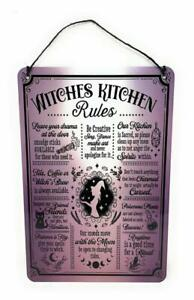 HALLOWEEN Novelty WITCHES KITCHEN Rules12 x 8 in Aluminum Sign for Wall Door