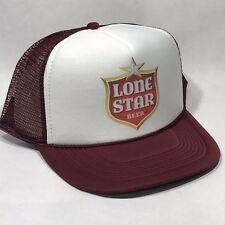 f30ab03bc705c Lone Star Beer Texas Brewery Trucker Hat Mesh Vintage 80s Snapback Cap  Maroon