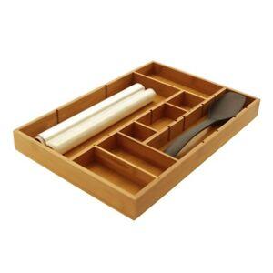 Bamboo Utensils Flatware Cutlery Tray, Drawer Insert Organiser