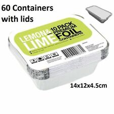 60 x Small Foil Food Container Tray and Lid Roasting BBQ Dish Takeaway Oven