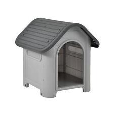 [en.casa]® Hundehütte 75x59x66cm Grau/Schwarz Unterschlupf Hundehaus Kunststoff