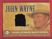 "JOHN ""THE DUKE"" WAYNE AUTHENTIC WORN BLACK VEST MATERIAL SWATCH RELIC CARD"