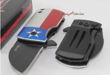 S-TEC Lone Star Texas Flag Mini Spring Assisted Money Clip/Boot/Pocket Knife NEW