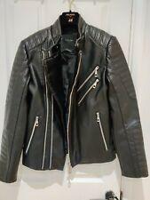 ZARA Men's Black Faux Leather Biker Jacket with buckle detail Size S Small 36 in