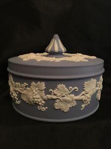 WEDGWOOD Blue Jasperware - Covered Candy / Trinket Dish - grapevine design