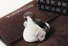 ROBERTO COIN EQUESTRIAN SADDLE STIRRUP 18K WHITE GOLD DIAMOND BAND RING SIZE 7