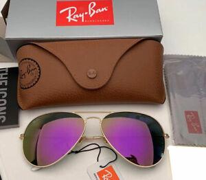 Ray Ban RB3026 Aviator Unisex Sunglasses 62MM Gold Frame/ Lavender Mirror Lens