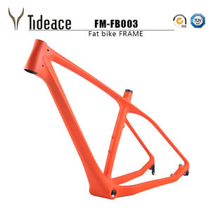 Snow Bicycle Frame T800 Carbon Fiber Fat Bike Frame Orange/Black Beach Frameset