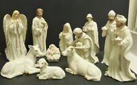 Dillard's Nativity Set 11 Jade Porcelain WIth Hand Painted 24kt Detailing VTG