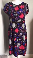 BODEN Pink Purple Silk Mix Dress Size 12 Jewel Abstract Velvet Trim Lined WH302