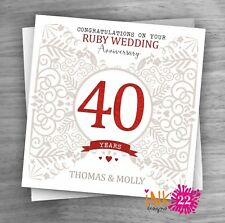 Personalised Unique Handmade Milestone 40th Ruby Wedding Anniversary card