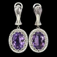 Unheated Oval Purple Amethyst 14x10mm White Cz 925 Sterling Silver Earrings