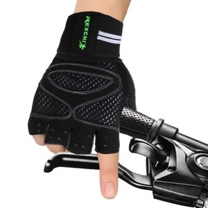 Weight Lifting Gym Gloves Workout Wrist Wrap Sports Training Fitness Gloves BLK