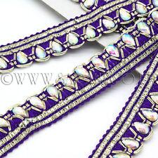 Purple Fabric Rhinestone beads Trim Rhinestone trimming,edging,Embellish ment,Sew