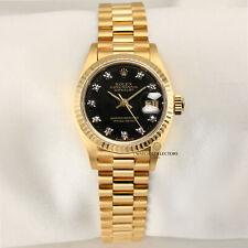 Rolex Lady DateJust 69178 18k Yellow Gold Black Diamond Dial