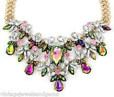 IRIDESCENT PINK & GREEN Crystal Rhinestone Choker Bib Pendant Statement Necklace