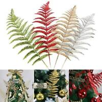 10x Glitter Leaf Stems Artificial Leaves Christmas Tree Home Wedding Party HOT