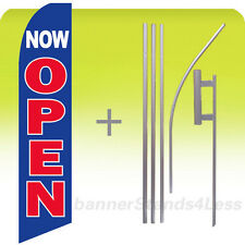 NOW OPEN Swooper Flag KIT Feather Flutter Banner Sign 15' Tall - bb