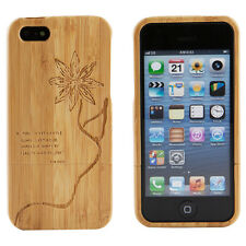 Apple iPhone 5 Case Bamboo Engraved Bob Pieh Quote Cover Natural Hard Wood New