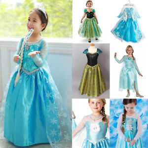 Girls Dress Costume Queen Princess Elsa Anna Cosplay Birthday Party size 1-8 Yrs