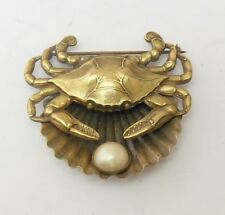 VINTAGE 1940's JOSEFF OF HOLLYWOOD CRAB SHELL AND  FAUX PEARL BROOCH / PIN.