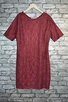 Women's Elegant Formal Round Neck 3/4 Sleeved Red Or Blue Lace Dress Uk Sizes