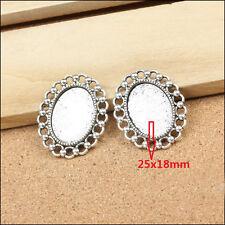 25x18mm 8PCS antique silver Base Setting Pendant,Tray cabochon Frame cameo Charm