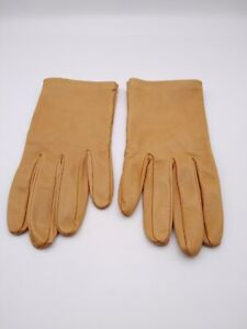 Fenwick Style Mustard 100% Leather Gloves Made In Italy Size 8 Vintage VGC