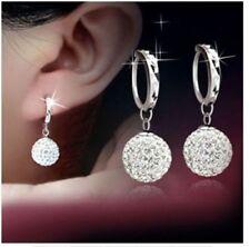 Women Fashion 925 Sterling Silver Full Crystal Ball Drop/Dangle Jewelry Earrings