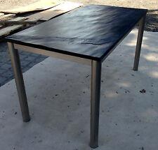 Gartentisch Esstisch Wohnzimmertisch Schiefer schwarz Edelstahltisch Stein NEU