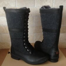 UGG ELVIA TALL BLACK WATERPROOF LEATHER RAIN SNOW BOOTS SIZE US 8.5 WOMENS