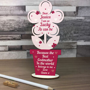PERSONALISED Godmother Gifts Wood Flower Thank You Baby Shower Gifts Godparent