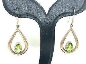 Vintage Green Peridot  Sterling Silver Drop Dangle Earrings