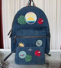 Coach Backpack Hawaiian Hawaii Patches Denim Charlie Travel Bag & Wristlet NWT