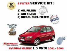 FOR HYUNDAI MATRIX 1.5 CRDI 2001-2004 NEW OIL AIR + DIESEL FUEL FILTER KIT