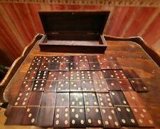 jeu de domino ancien en palisandre massif et cuivre