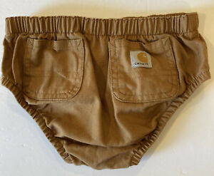 Carhartt Diaper Cover Brown Canvas 100% Cotton 6-9 Months