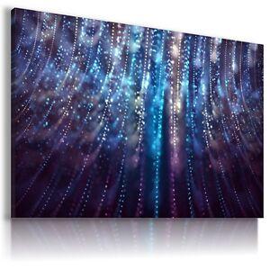 SPARKLE BLUE LINES LIGHTS Modern Canvas Wall Art Picture  BA54 MATAGA