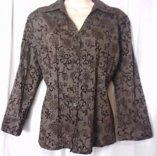 deb31f1fbe93e Croft   Barrow Size PL Brown Button Front Long Sleeve Women s Shirt Top