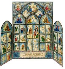 VTG 1950's Tri Fold Hallmark Christmas Advent Nativity Calendar Cathedral