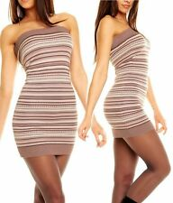SeXy Damen Girly Bandeau Norweger Strick Mini Kleid Stripes Dress XS/S braun NEU