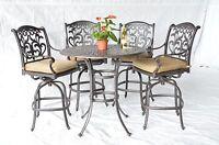 "Mandalay Outdoor Patio 5pc Set Bar Table 42"" Cast Aluminum Dark Bronze"