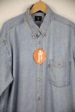 VINTAGE Mens LEVIS Denim Shirt Long Sleeve STRAUSS TRUCKER 90'S Loose FIT XL P2