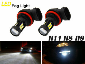 2pcs H11 H9 H8 LED White Conversion Bulb Kit Fog Light 80W 6000K Driving Light