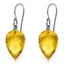 19 Carat 14K Solid White Gold Fish Hook Earrings Natural Briolette Citrine