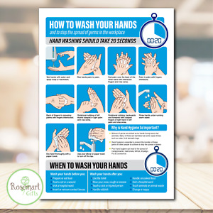 How to wash your hands poster self adhesive vinyl sticker. A5 or A4 size